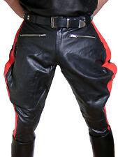 Lederhose rote Streifen Stiefelhose neu Breeches Motorradhose leather pants new