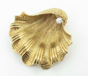 .Vintage Tiffany & Co 18k Gold & Diamond Set Shell Brooch - Large 16.4g