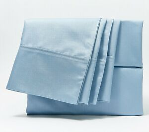 Home Reflections Cotton Blend Sateen Queen Sheet Set w/ Extra Cases BLUE QVC $50