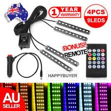 4X 12V 9LED RGB Car Interior LED Strip Lights Wireless Remote Control Music AU