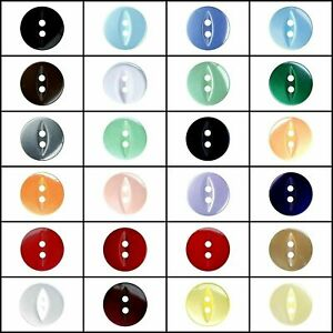 FISH EYE BUTTONS - 2 HOLE POLYESTER SEW THROUGH- 20 COLOURS