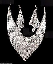 New Silver Mesh Bib Necklace Earrings Set Women