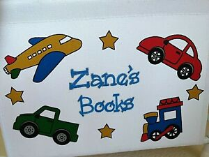 "Small Bedside Book Rack Holder Personalized Kids White Canvas ""Zane"" Cars Trucks"