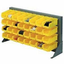 Louvered Bench Rack with (22) Yellow Stacking Akrobins, 36x15x20