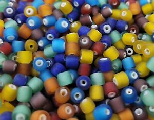 200 pcs VTG Multi Color Ceramic Lined Frosted Glass 5mm Tube Beads Jewelry Craft
