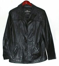 Wilsons Maxima Black Pebbled Leather Fitted Womens Button Jacket Size Large