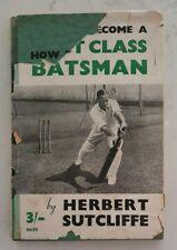 VERY RARE HERBERT SUTCLIFFE SIGNED 1st ED 1949 HARDBACK ENGLAND CRICKET