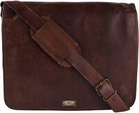 """18"""" Men's Natural Leather GVB Goathide Crossbody Shoulder Satchel Messenger Bag"""