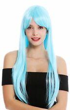 Peluca de Mujer Mujer Cosplay Largo Liso Flequillo con Raya Azul Claro