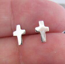 Cross Post Stud Earrings Genuine Solid Sterling Silver - Minimalist