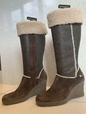 UGG Brown Suede and Sheep's Fur And Leather Knee High Zip Wedge Boots US11 EU42