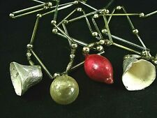 "Wonderful Antique Glass Tube & Ball Garland w Silver Foil Bells ""Made In Japan"""