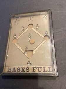 "VINTAGE BASEBALL ""BASES FULL"" GAME OF SKILL TIN CASE GLASS NON METAL BALL DISC"