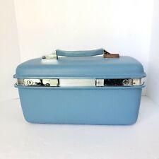 Samsonite Montbello II VTG Train Case Vanity Travel Case Blue W/ Mirror  NO KEY