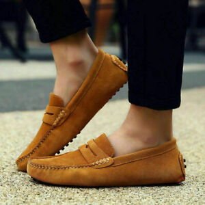 NEW Men Casual Driving Loafers Suede Leather Moccasins Slip On Penny Shoes