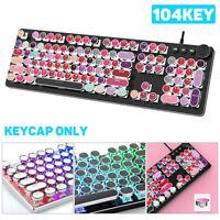 KQ_ 104Pcs/Set PBT Universal Round Key Cap Keycaps for Cherry MX Mechanical Keyb