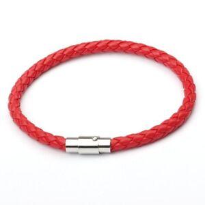 Unisex Women Men Braided Leather Steel Magnetic Clasp Bracelet Handmade Jewelry