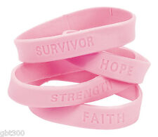 120 Pink Ribbon Rubber Bracelets Lot Breast Cancer Awareness Wristband Favor Lot