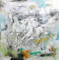 Modern Abstract Original Oil Painting on Canvas, Running Horse Portrait, 48 inch