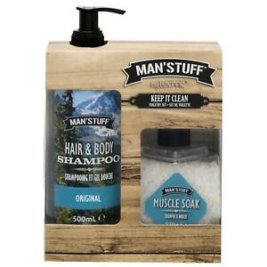 Technic Man'Stuff Mens Toiletries Gift Set Shampoo Body Muscle Soak Bath Salts