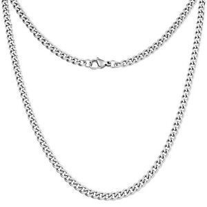 Mens Necklace - 4mm Curb Cuban Chain - Silver Stainless Steel - By Silvadore UK