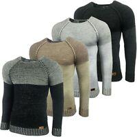 Herren Warme Pullover Grobstrick Pulli Sweatshirt Strickjacke Jacke KD-16081 Neu