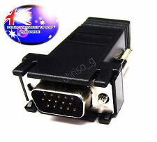 From OZ Quality 1PC D15 VGA Male To RJ45 LAN ETHERNET CAT5 CAT5E Cable Ext +F.P!