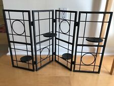 4 metal screen candle holder - Unique 4-panel double-sided design