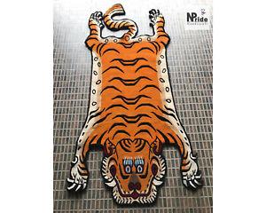 Handknotted Tibetan Tiger Rug Carpet - Wool- 3 Sizes -Handmade Nepal  -Lt.Orange