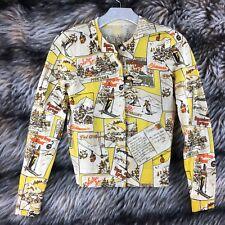 J Crew Cardigan Sweater Merino Wool Vintage Inspired Ski Postcards Small