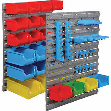 44PC Plastic Bin Kit Wall Mounted Storage Unit Garage Parts Bins Tool Organiser