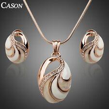 Women Enamel Pendant Earrings Set 18K Gold Plated Austrian Crystal Jewelry Gift