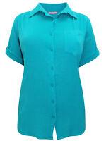 Übergrössen Kurzarm Tunika Bluse Shirt türkis GR. 56 58 60 62 64 66 68 70 Neu