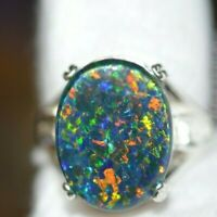 GENUINE NATURAL LARGE TRIPLETS BLACK OPAL 925 STERLING SILVER RING  blue      23