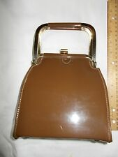 BEAUTIFUL VTG 50's 60's SHINY BROWN PATENT TYPE PURSE METAL HANDLES