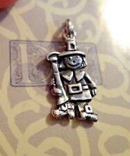 1 Sterling Silver 20x10mm Thanksgiving Day Pilgrim Charm double sided