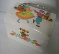Vintage Wooden Dancing Kids Hearts Decoupage Folk Art White Purse Box Unique EUC