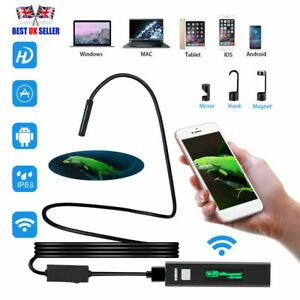 8 LED Snake Endoscope Borescope Inspection WiFi Camera Scope for iPhone Android