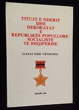 Albania Albanien Albanie Medal Order Militaria Titles Book Communism Socialism
