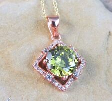 "New Green Peridot 4.37 ctw Square Pendant 18"" Chain Necklace 925 Rose Gold"