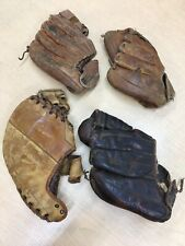 4 Antique Leather Baseball Mitts