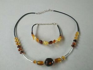 Baltic Sea Amber Necklace And Bracelet Handmade Unique FREE SHIPPING No4
