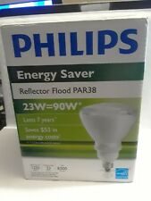 PHILIPS EL/A PAR38 23W  ENERGY SAVER CFL REFLECTOR FLOOD PAR38 LAMP 23W=90W NIB
