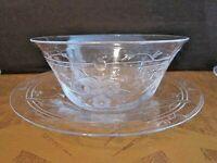 (4) Four Antique Delicate Cut Glass Finger Dessert Bowls & Underplates~Edwardian