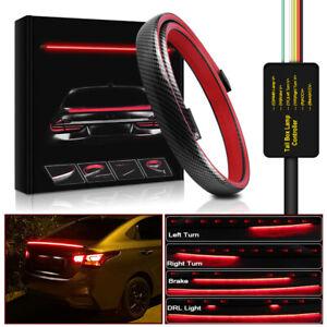 "51"" Universal Spoiler Lip Trunk LED Strip Rear Wing Roof Signal Tail Brake Light"
