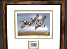 NORTH DAKOTA #1 DUCK STAMP PRINT FRAMED WATERFOWL ARTIST SIGNED PLASSCHAERT 1982