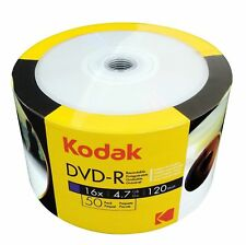 600 Kodak Blank DVD-R DVDR 16x White Inkjet Hub Printable 4.7GB Media Disc EXPED