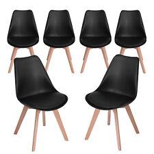 6er Set Esszimmerstühle Wohnzimmerstuhl mit Kissen & Massivholz Buche Bein, NEU