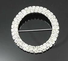 20pcs DIA 50mm 2 Rows Round Chair Sash Buckles Made Of AAA Rhinestone 35mm Pin