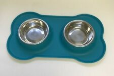 Hubulk Pet Dog Bowls 2 Stainless Steel with No Spill Non-Skid Silicone - Teal